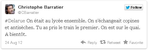 Delarue On était au lycee ensemble. On s'échangeait copines et antisèches. Tu as pris le train le premier. On est sur le quai. A bientôt.
